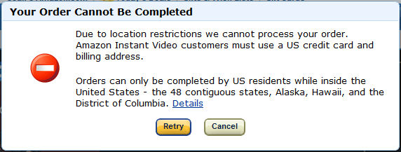 Amazon Error Message